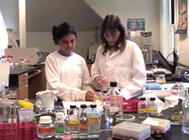 faculty and student in lab.